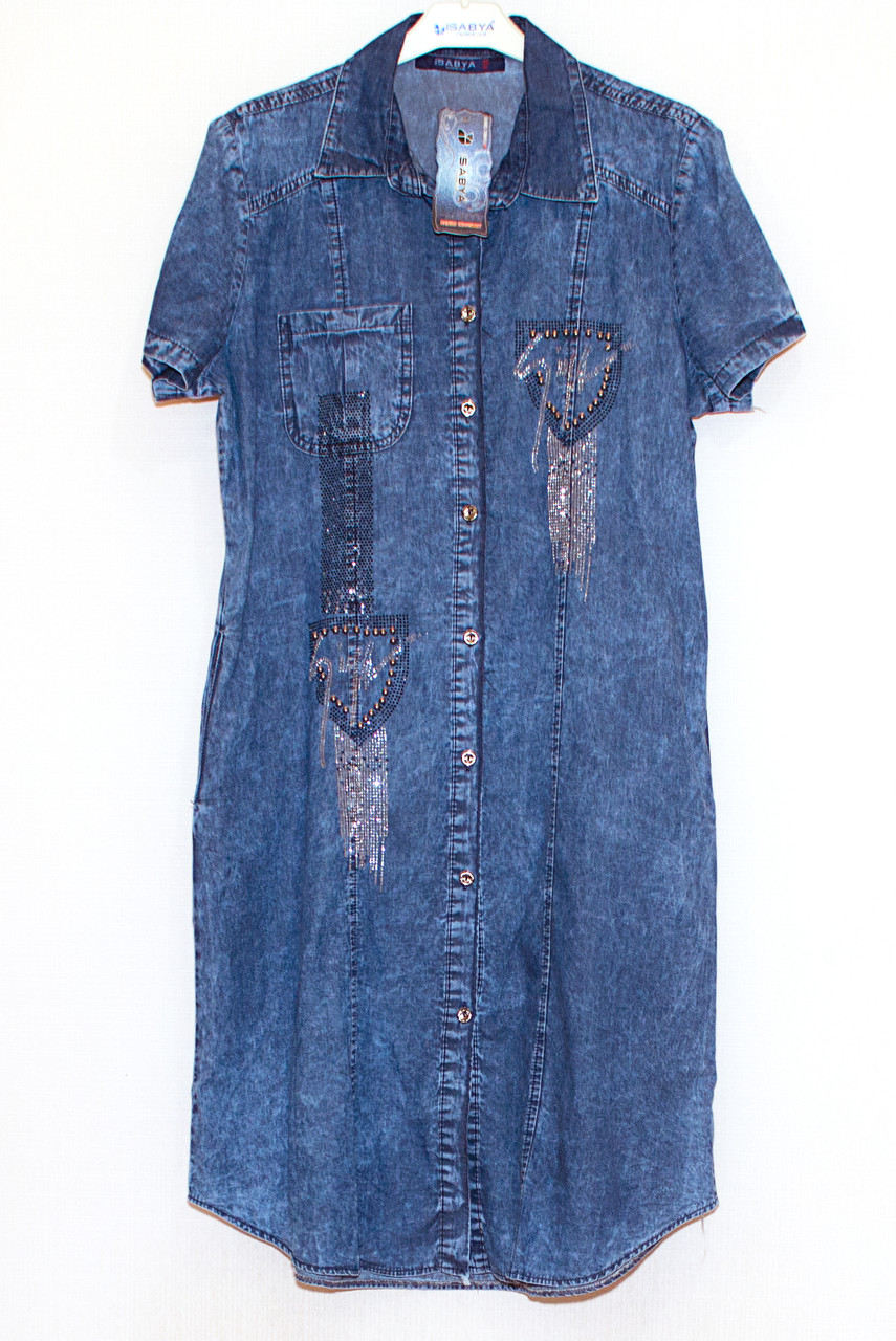 Платье джинсовое на пуговицах (5XL)