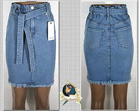 Джинсовая юбка молодёжная с джинсовым поясом низ бахрома 38 рр