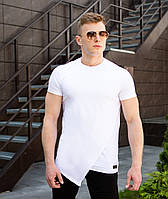 """Стильная удлиненная мужская футболка """"Брюс Ли"""" белая"""
