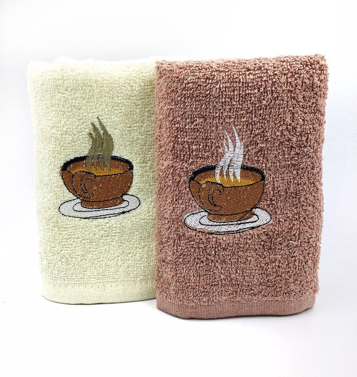 """Махровое кухонное полотенце 35х70 """"Чашка кофе"""" в ассортименте - набор 2шт"""