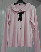 Розовая офисная кофточка с круглым воротником Lookat