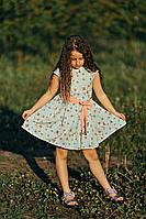 Легкое летнее платье для девочки мятного цвета, фото 1
