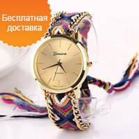 Geneva hippy женские наручные часы на плетеном браслете 2015 подарок модные фенечка годинник