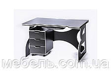 Офисный стол  с тумбой Barsky HG-06/LED/CUP-06/ПК-01 Game White, фото 3