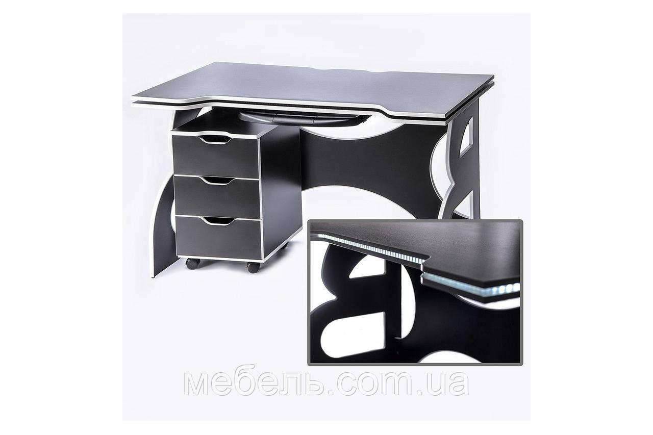 Компьютерные столы стол регулируемый по высотес мобильной тумбой Barsky Game LED White HG-06/LED/CUP-06