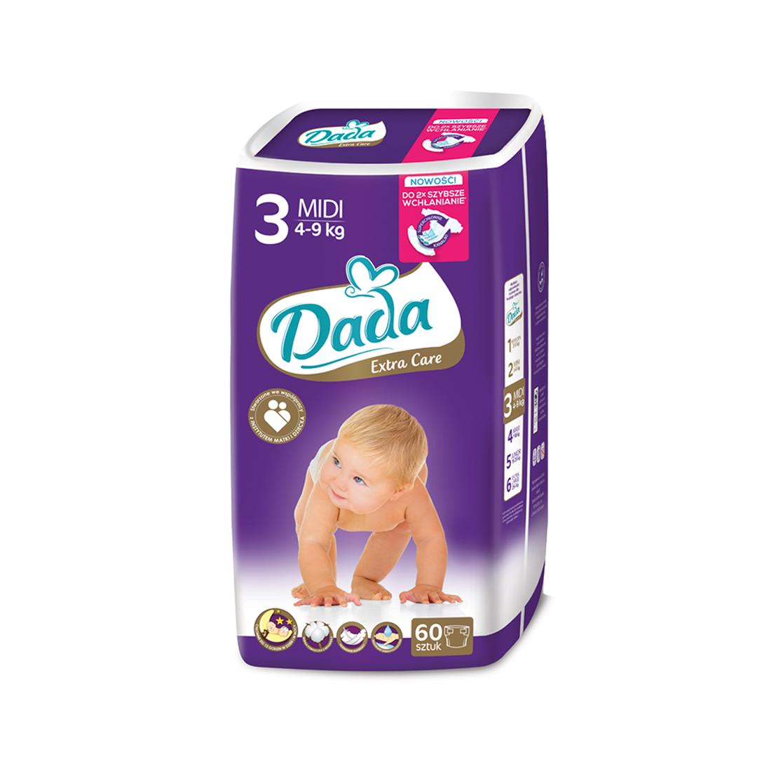 Подгузники Dada Extra Care Midi 3 (4-9кг), 60шт
