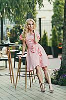 Платье женское на запах цвета розовой пудры, фото 1
