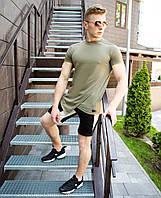 """Классная мужская хлопковая удлиненная футболка """"Брюс Ли"""" цвета хаки"""
