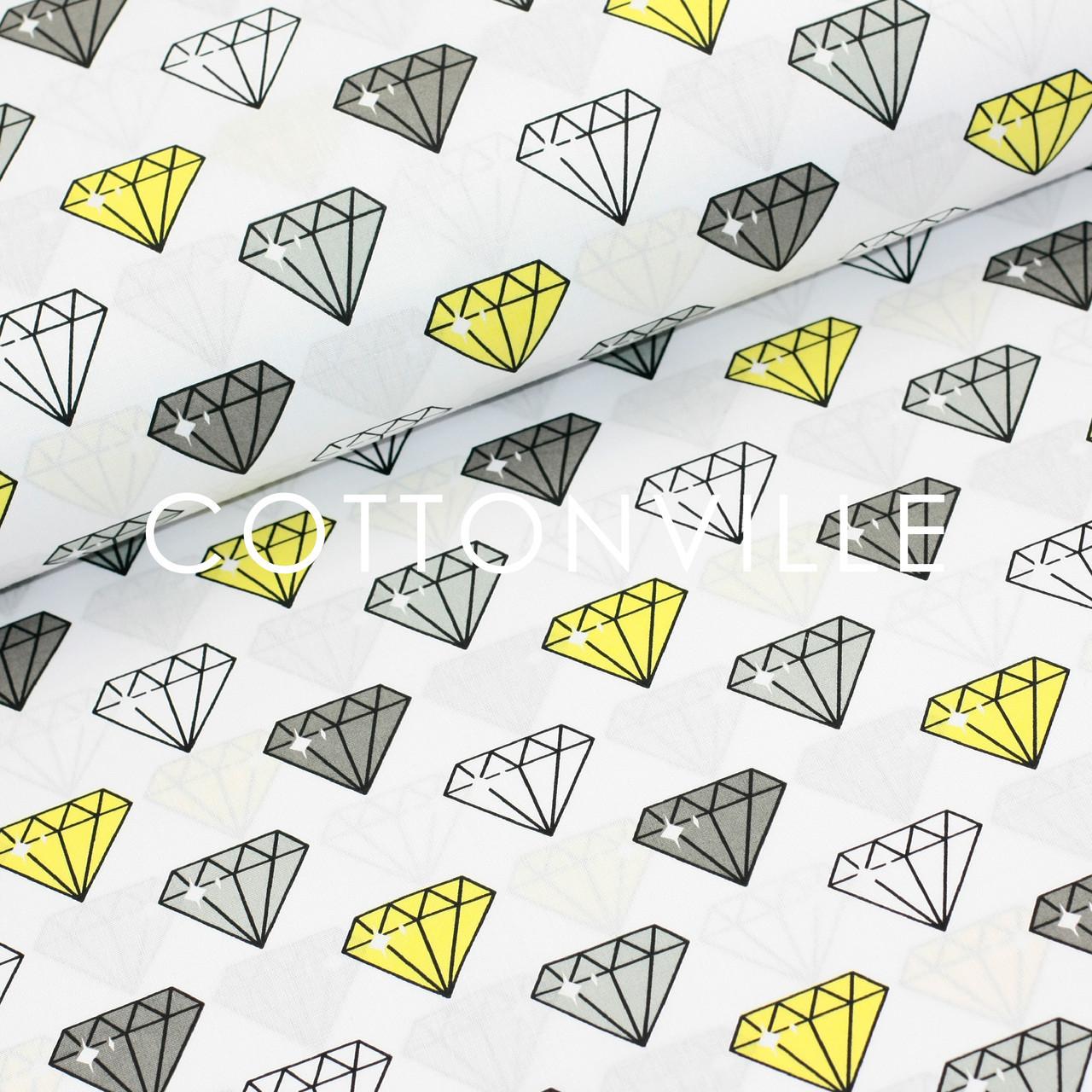 Хлопковая ткань Бриллианты серо-желтые