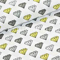 Хлопковая ткань Бриллианты серо-желтые, фото 1