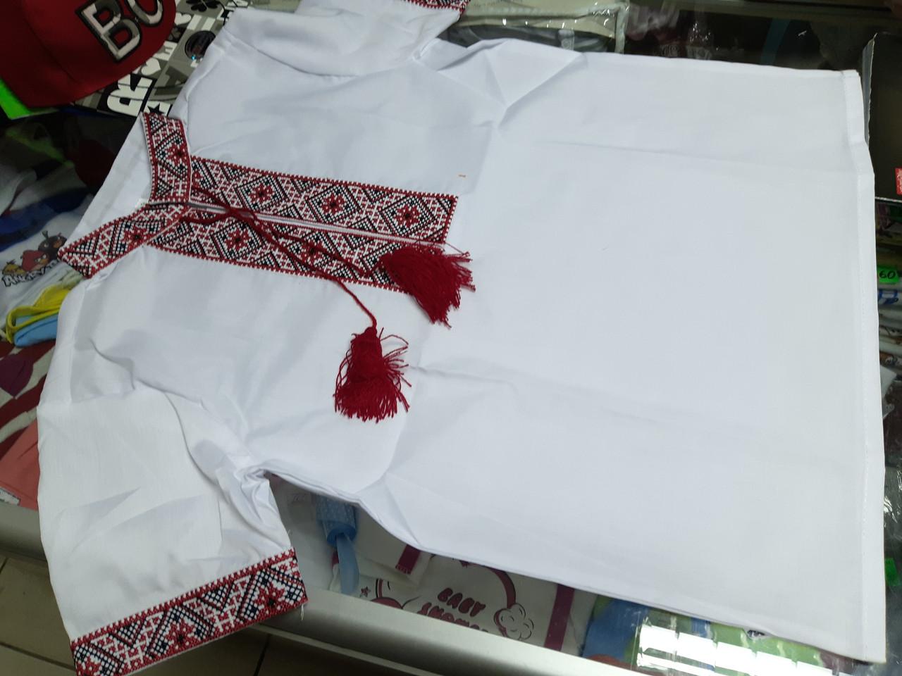Рубашка Вышиванка для мальчиков с коротким рукавом р.134 140 146