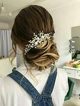 Украшение в прическу, гребень свадебный из жемчужных бусин, Ksenija Vitali
