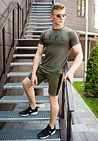 """Стильная молодежная мужская футболка из хлопка с надписью """"L.I.F.E."""" цвета хаки"""