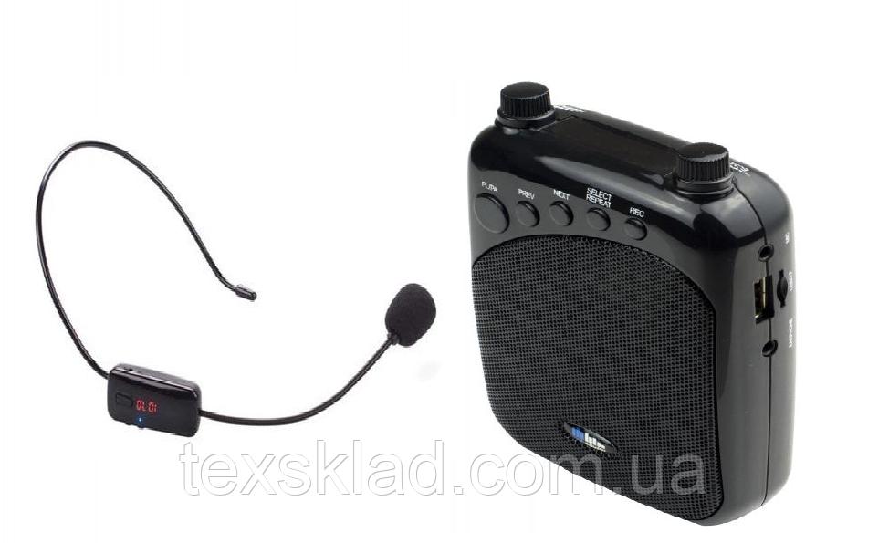 Усилитель голоса с беспроводным микрофоном FM WM-777   (USB/аккумулятор)