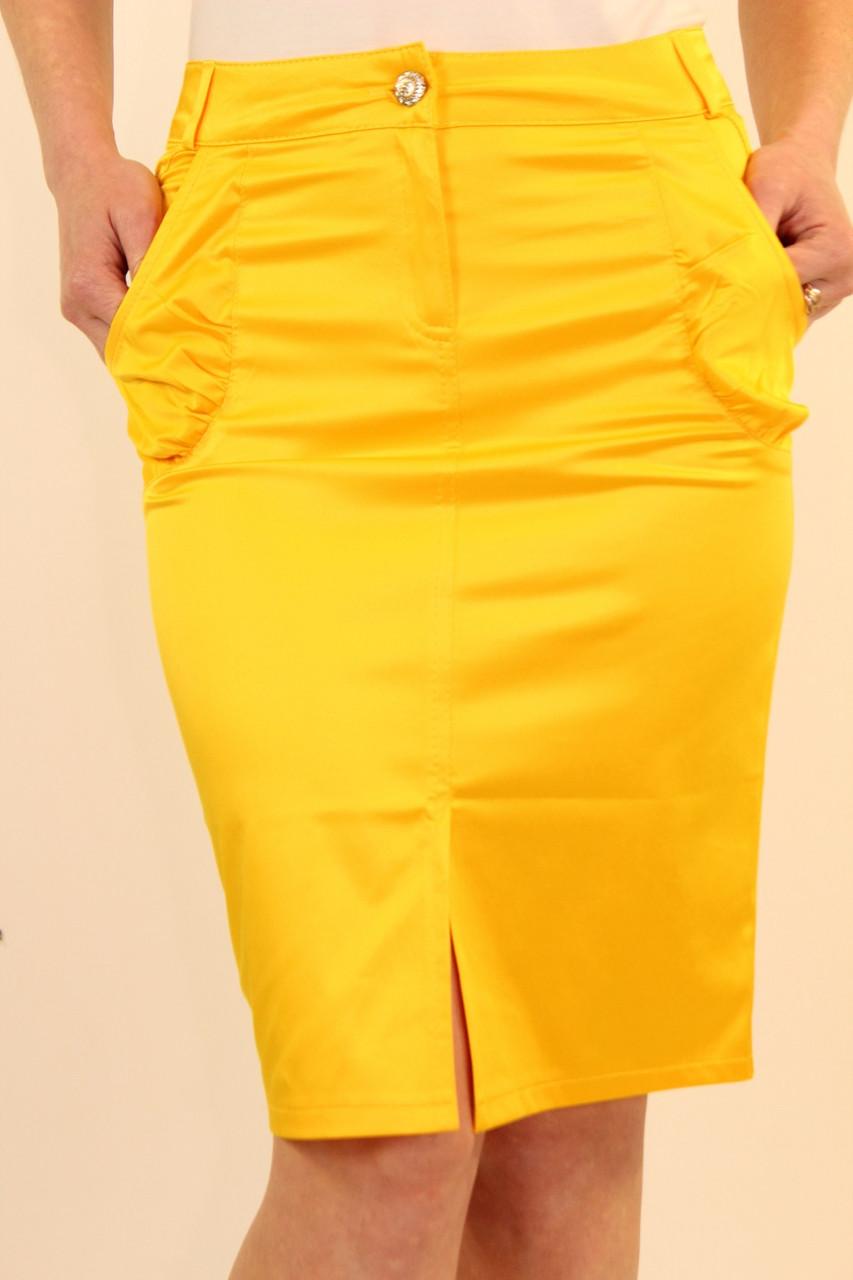 Летняя юбка карандаш с разрезом 42-48 р
