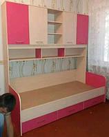 Кровать подростковая с полочками и выдвижными ящиками КПДСП 114
