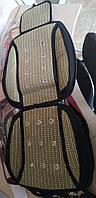 Бамбуковая накидка на сидение охлаждающая King KSC-0236-GN с подголовником, зеленая соломка+поролон (пара)