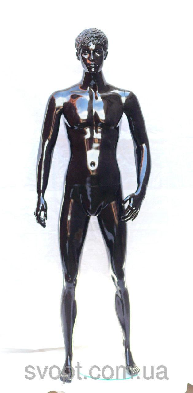 Мужской манекен лакированный чёрный