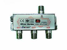 Дільник ТВ сигналу Split 3 way 5 - 2500МГц з проходом харчування EUROSKY