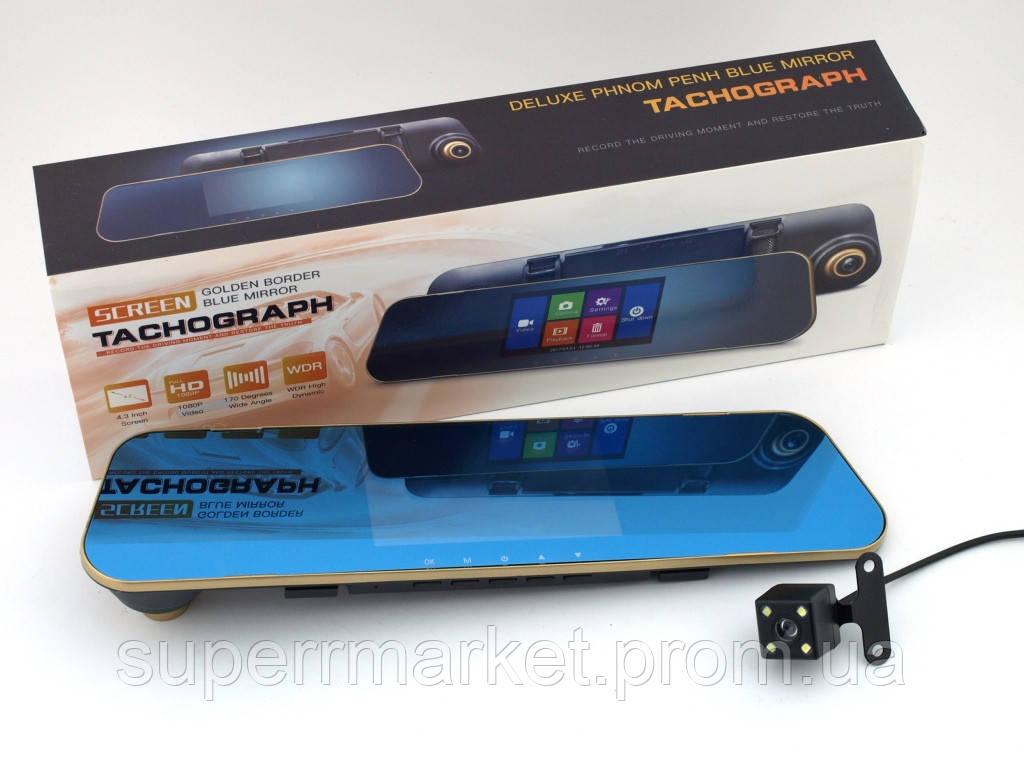 """Car DVR DV400 Tachograph автомобильный HD регистратор-зеркало, сенсорный экран 4.3"""" с двумя камерами"""