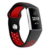 Силиконовый ремешок с перфорацией для фитнес браслета Fitbit Charge 3 / 4 - Black&Red
