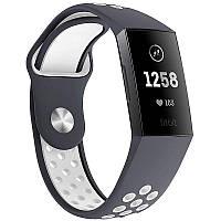 Силиконовый ремешок с перфорацией для фитнес браслета Fitbit Charge 3 / 4 - Grey&White