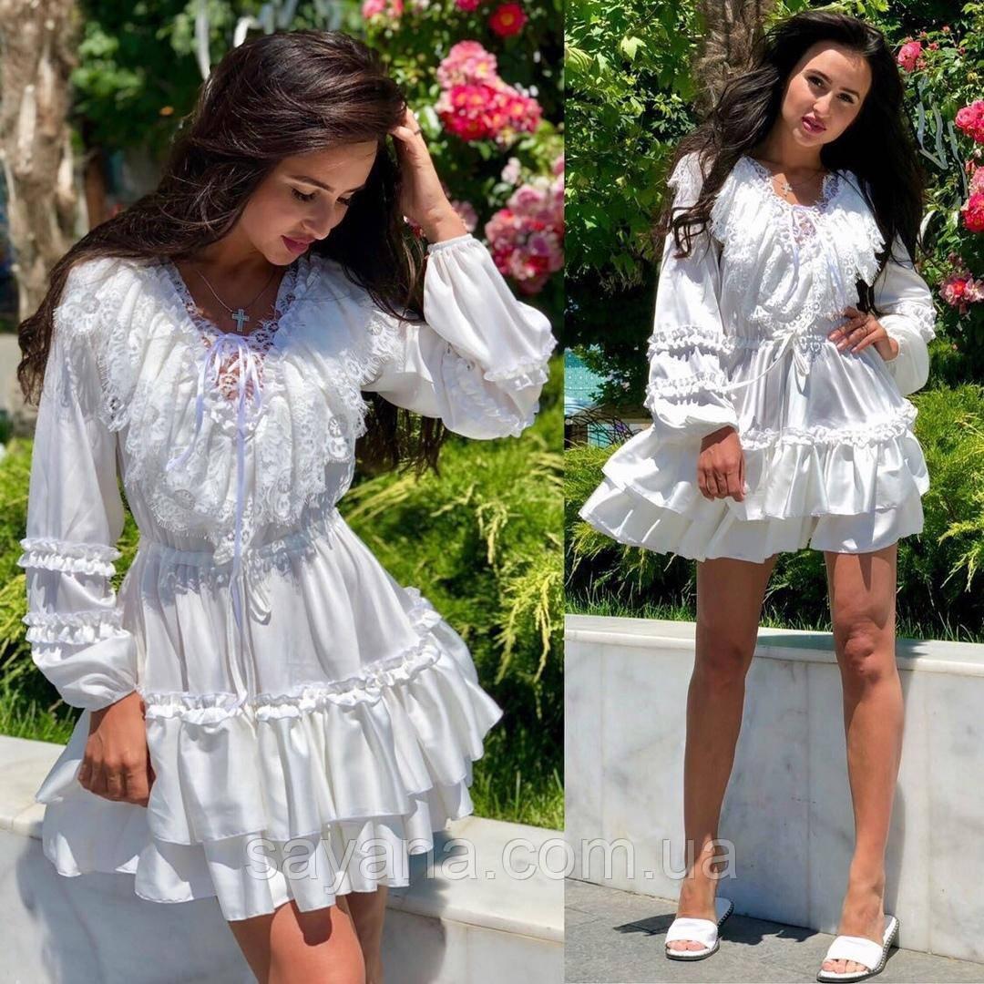 Женское шелковое платье с кружевом, в расцветках. АЕ-1-0421