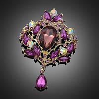 Брошь восточная, цвет Purple, 98х65 мм, 1шт