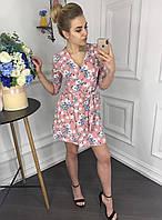 Платье женское на запах в горошек с карманами р. 42 44 46 48, фото 1