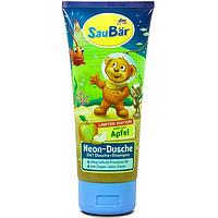 SauBär Neon-Dusche 2in1 детский гель для душа и шампунь с ароматом яблока 2 в 1 200 мл