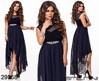 """Вечернее платье асимметрия с имитацией запаха и декорировано брошью  """"Доната"""""""
