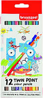 Набор детских двухсторонних цветных карандашей, 12цв., Bruynzeel