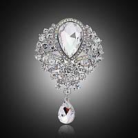 Брошь восточная, цвет Crystal, 84х56 мм, 1шт