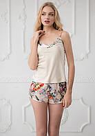 """Пижама женская майка и шорты из шелка на тонких бретелях """"Liliana"""" качество premium"""
