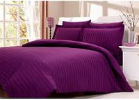 Постельное белье Сатин-страйп Фиолетовый Двуспальный Евро