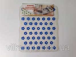 """Коврик силиконовый для мойки """"Синие цветы"""" 26,5 х 31,5 см."""