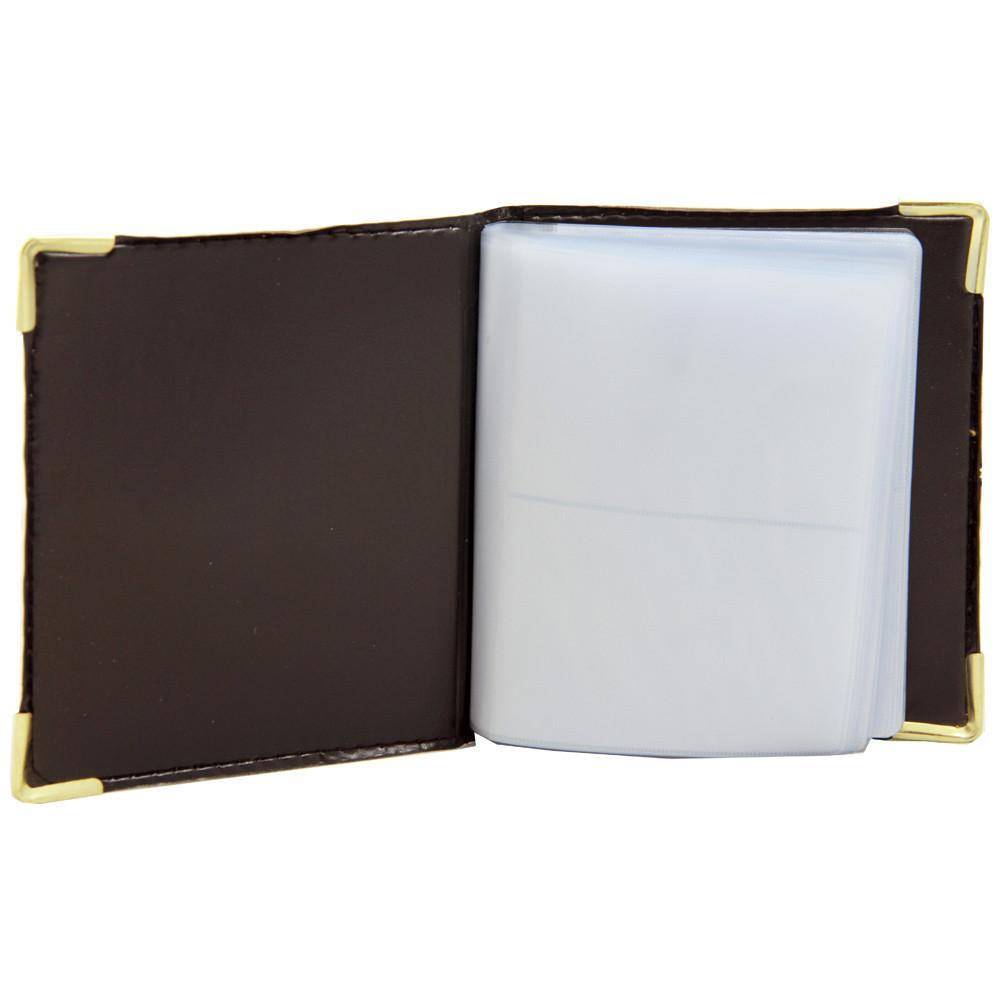 Визитница кожа заменитель с металлическими уголками 72 карточек