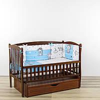 Бортики подушки в кроватку новорожденного праздник зверушек голубого цвета