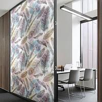 Самоклеющаяся матирующая пленка на стекло Перья павлина (наклейки на зеркало, окно, стекло, под пескоструй)