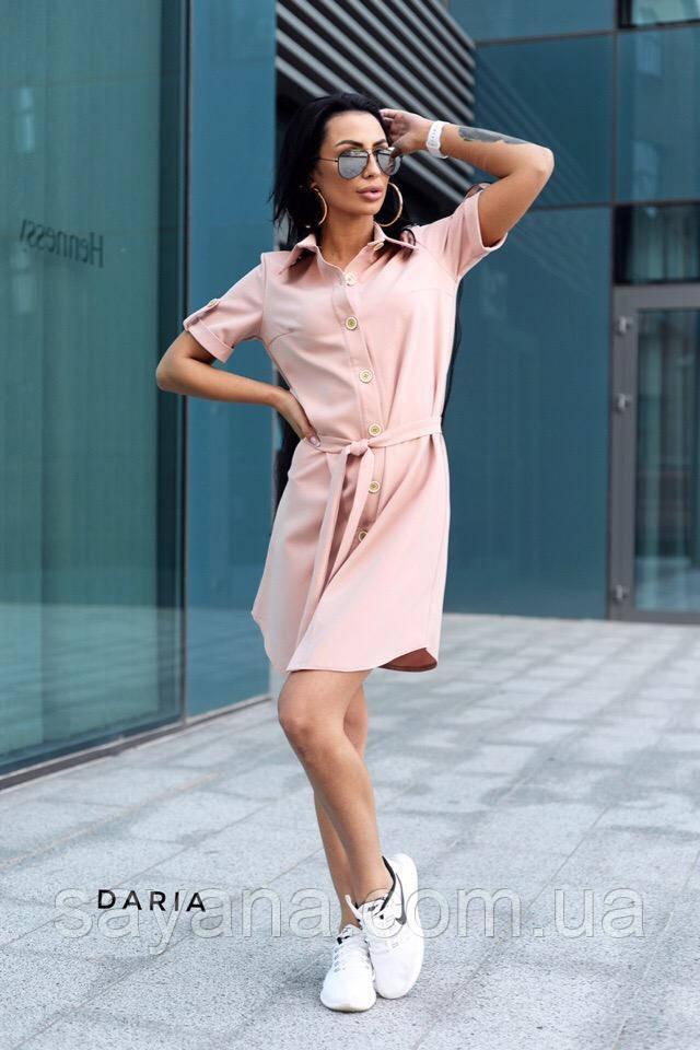 Женское платье-рубашка на пуговицах в расцветках. Ч-7-0519
