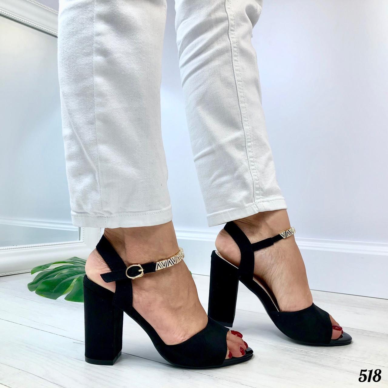 """Босоножки женские черные """"Браслет"""" на каблуке 9 см эко- замш"""
