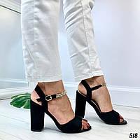 """Босоножки женские черные """"Браслет"""" на каблуке 9 см эко- замш  , фото 1"""