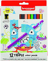 Набор детских трехгранных карандашей TRIPLE, 12цв., + точилка для карандашей, Bruynzeel
