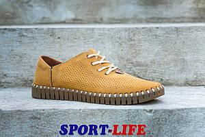 Летниемокасины Prime shoes с перфорацией в горчичном цвете