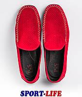 Летние замшевые мокасины Prime shoes с перфорацией в красном цвете