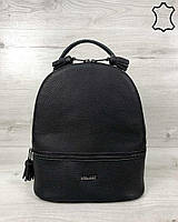 Кожаный качественный женский рюкзак Rashel черного цвета