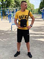 Мужской летний костюм с шортами  Reebok UFC черный + барсетка в подарок Реплика, фото 3
