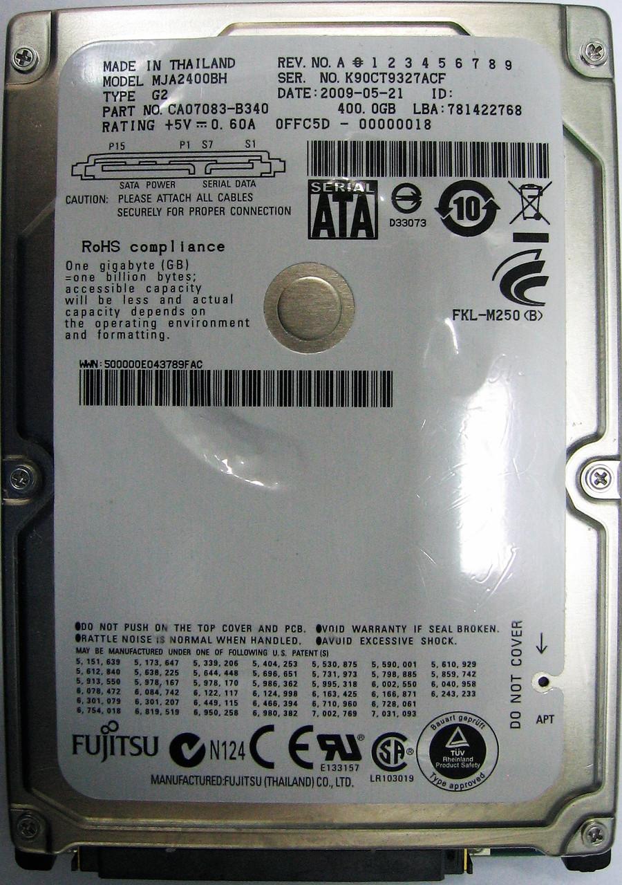 Жесткий диск HDD 400GB 5400rpm 8MB SATA II 2.5 Fujitsu MJA2400BH K90CT9327ACF