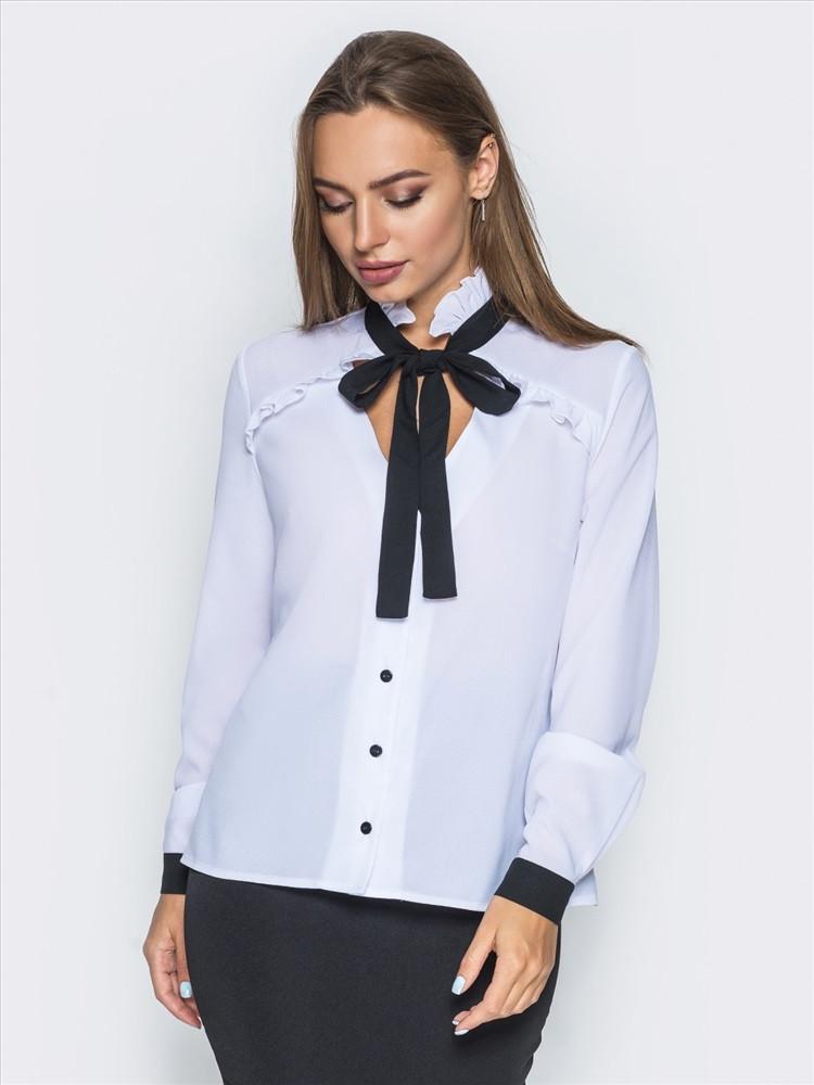 (S, M, L, XL) Романтична біла блузка з чорними вставками Sandra