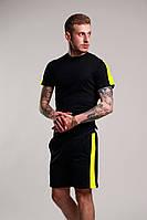 Мужской летний комплект шорты и футболка мужская черная с желтым. Живое фото